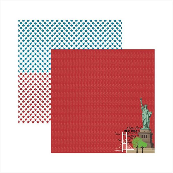 Papel-Scrapbook-New-York-Estatua-SDF477---Toke-e-Crie