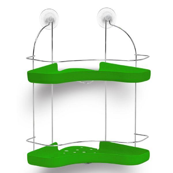 Porta-Shampoo-Duplo-Cromo-Colors-Aco-e-Plastico-Verde-306-3---Niquelart