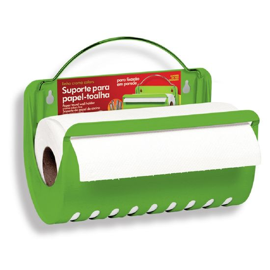 Porta-Rolo-de-Papel-Toalha-Parede-Cromo-Colors-Verde-314-3---Niquelart