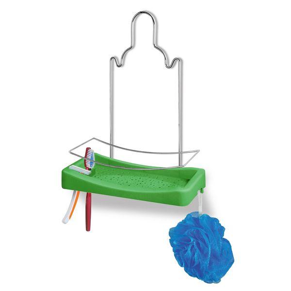 Porta-Shampoo-Simples-Cromo-Colors-Aco-e-Plastico-Verde-348-3---Niquelart