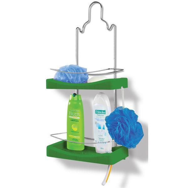 Porta-Shampoo-Duplo-Cromo-Colors-Aco-e-Plastico-Verde-349-3---Niquelart