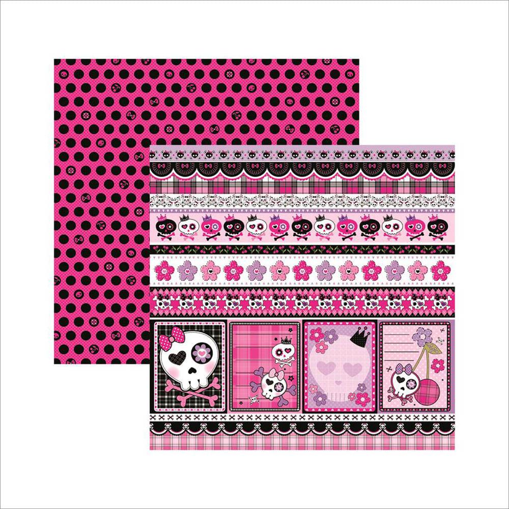 3f64ff1ba042e Papel Scrapbook Dupla Face Caveiras Pink Barrinhas SDF451 - Toke e ...