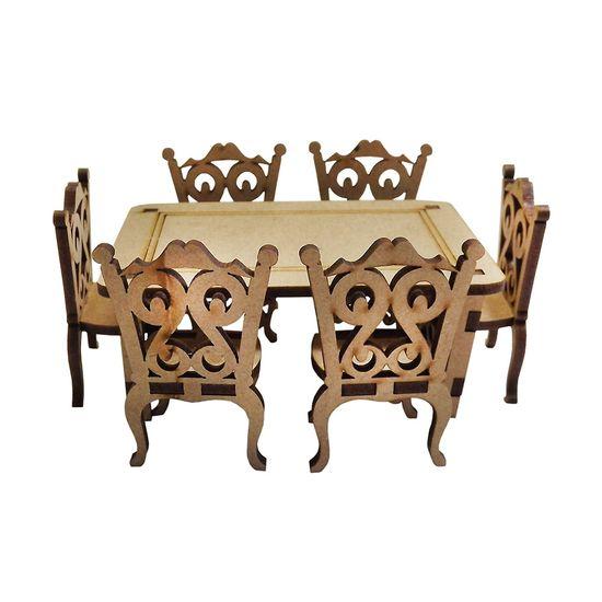 Mesa-Classica-Retangular-com-6-Cadeiras-Miniatura---MDF-a-Laser-