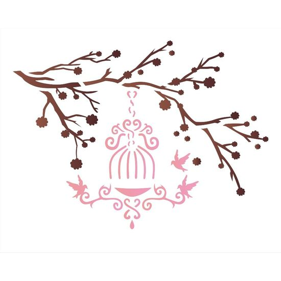 Estencil-para-Pintura-Simples-20x25-Galhos-e-Passaros-OPA1411---Opa