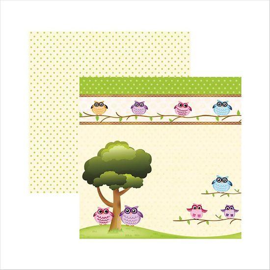 Papel-Scrapbook-Corujinhas-da-Floresta-na-Arvore-SDF441---Toke-e-Crie