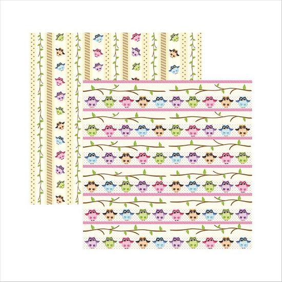 Papel-Scrapbook-Corujinhas-da-Floresta-Barrinhas-SDF442---Toke-e-Crie