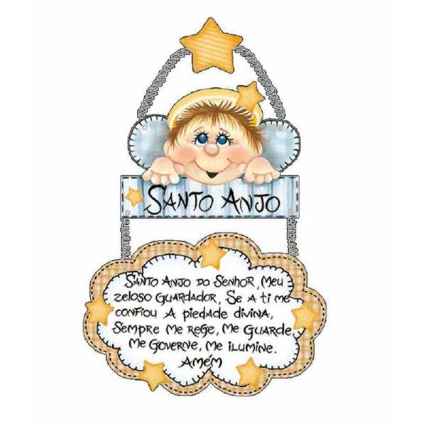 Placa-de-Porta-MDF-Decoupage-Santo-Anjo-DM-020---Litoarte