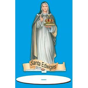 Enfeite-Arte-em-Madeira-MDF-e-Tecido-colado-com-Base-Santa-Edwiges-AMTB-005---Litoarte