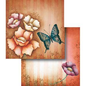 Papel-Scrapbook-Duplo-Flores-Borboleta-LSCD-287---Litocart