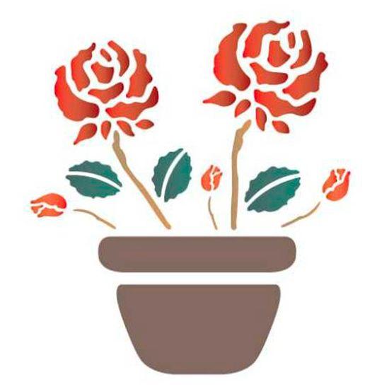Estencil-para-Pintura-Simples-14x14-Vaso-com-Rosas-OPA1003---Opa