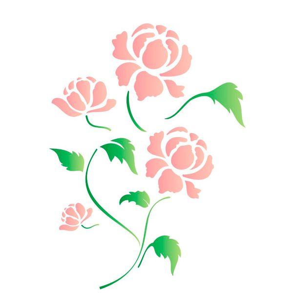 Estencil-para-Pintura-Simples-15x20-Flor-Peonia---OPA1317---Opa