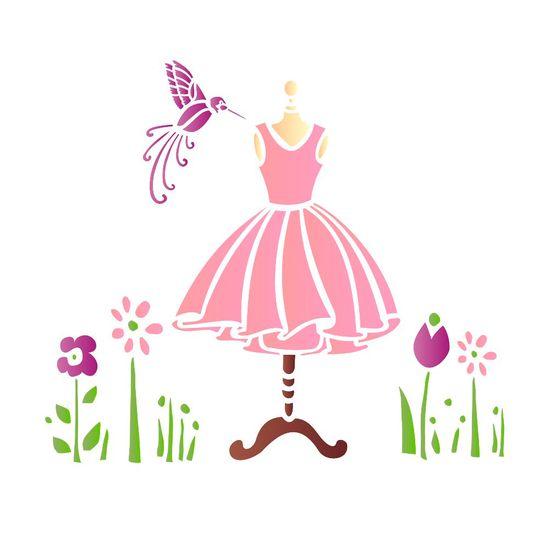 Estencil-para-Pintura-Simples-20x25-Manequim-Beija-Flor---OPA1412---Opa