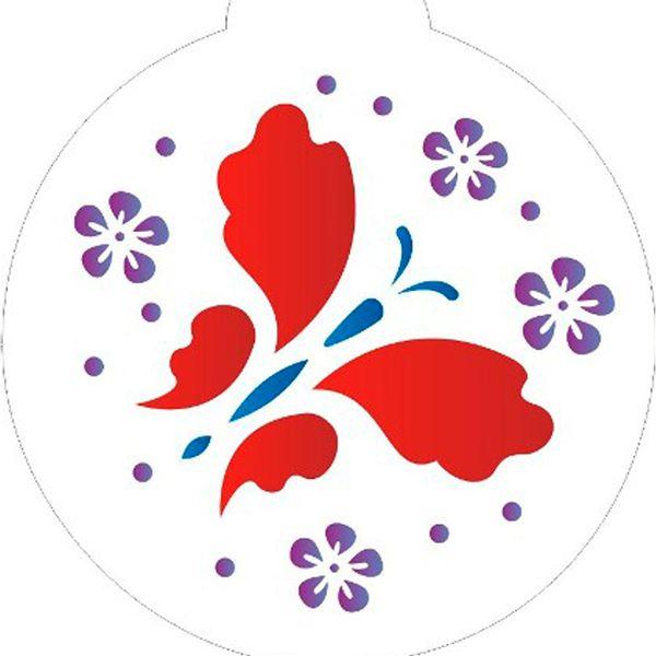 Estencil-para-Pintura-Redondo-10x10-Borboleta-Flores-II---OPA826---Opa