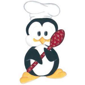 Aplique-Madeira-e-Papel-Placa-Pinguim-com-Colher-LMAPC-256---Litocart