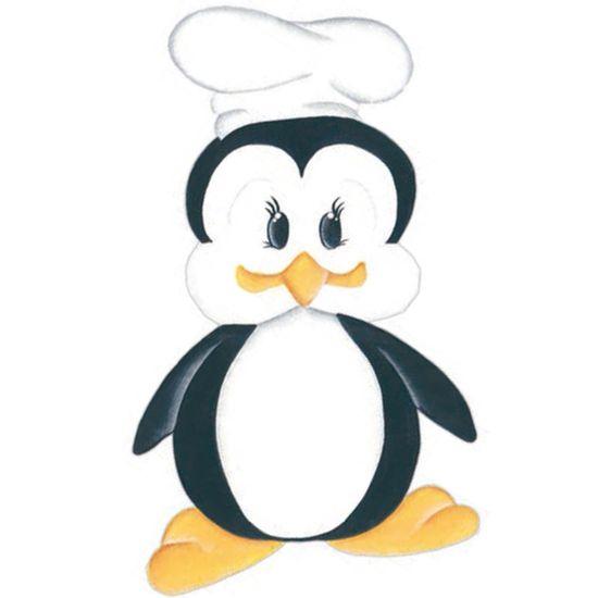 Aplique-Madeira-e-Papel-Placa-Pinguim-Cozinheiro-LMAPC-255---Litocart