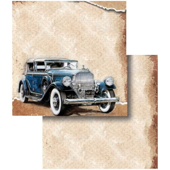 Papel-Scrapbook-Folha-Dupla-Carro-Azul-LSCD-315---Litocart