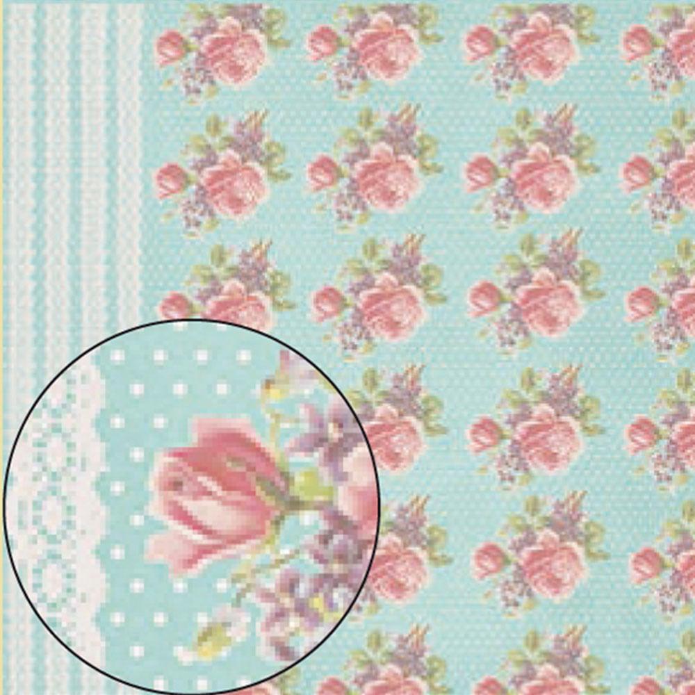 f6208f0f7f156 Papel Scrapbook Folha Simples Azul Bolinhas e Flores LSC-223 ...