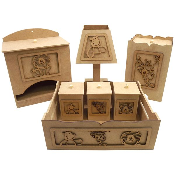 Kit-Higiene-para-Bebe-Safari-Bacana-7-pecas-com-Abajur---MDF-a-Laser