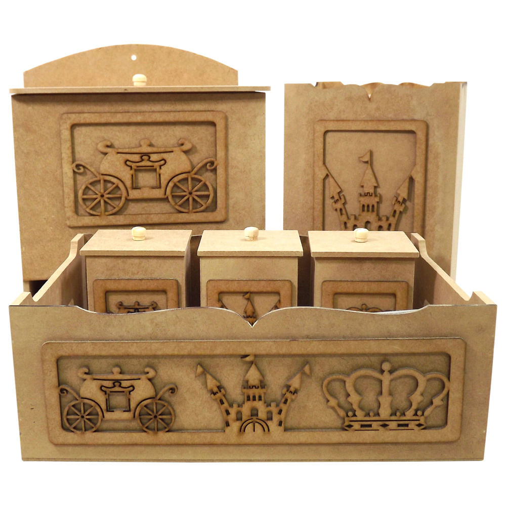 3a6f5622d1215 Kit Higiene Bebê em MDF Carruagem Príncipe 6 peças - Palácio da Arte ...