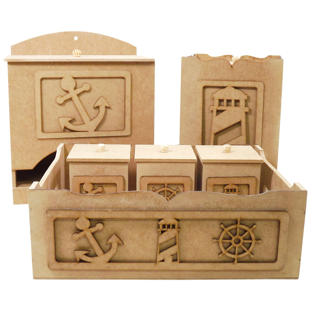 4d5c6414f Kit Higiene Bebê em MDF Marinheiro 6 peças - Palácio da Arte ...