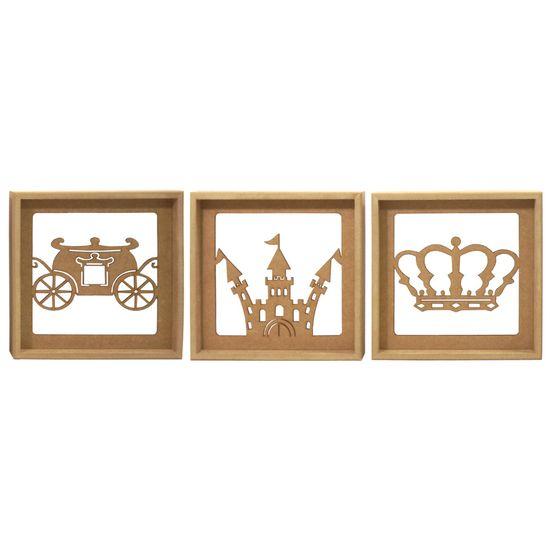 Trio-de-Quadros-Decorativo-3D-Carruagem-Principe---MDF-a-Laser