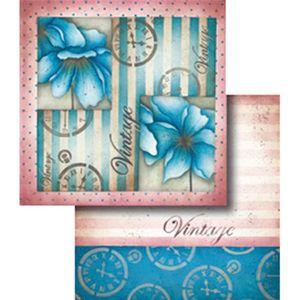 Papel-Scrapbook-Dupla-Face-Vintage-com--Flor-e-Relogio-LSCD-318---Litocart
