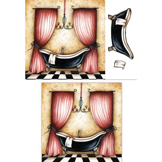 Placa-Madeira-Quadrada-3D-Banheiro-Vermelho-25x25-LPQC3D-02---Litocart