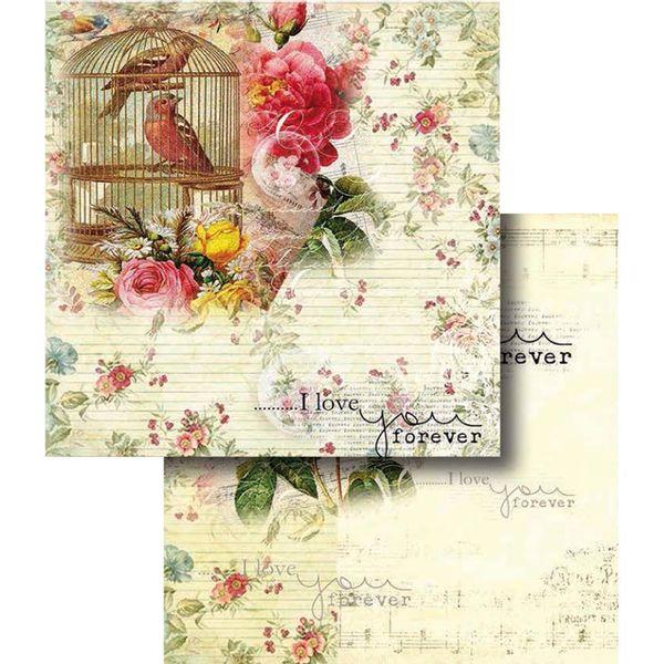 Papel-Scrapbook-Dupla-Face-Flores-com-Passaro-e-Gaiola-LSCD-321---Litocart
