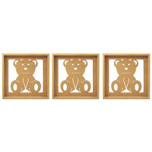 Trio-de-Quadros-Decorativo-3D-Ursinho-Carinhoso---MDF-a-Laser