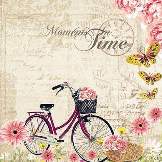 Papel-Scrapbook-com-Glitter-Bicicleta-com-Flores-LSCG-017---Litocart