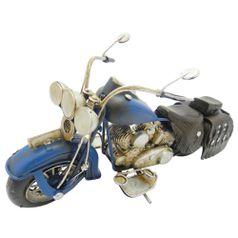 Moto-Harley-Chopper-Azul-Retro-em-Metal-Miniatura---The-Home