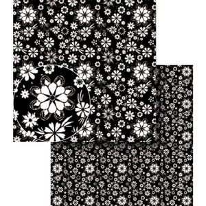 Papel-Scrapbook-Dupla-Face-Flores-Preto-e-Branca-LSCDS-010---Litocart
