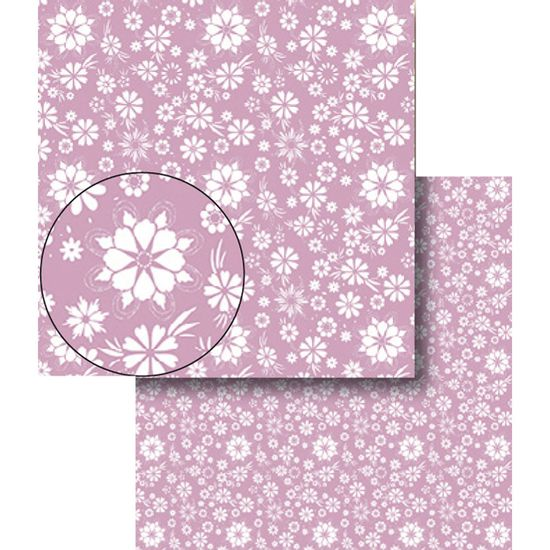 Papel-Scrapbook-Dupla-Face-Flores-Roxa-e-Branca-LSCDS-012---Litocart