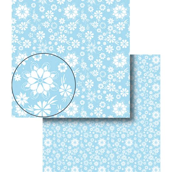 Papel-Scrapbook-Dupla-Face-Flores-Azul-e-Branca-LSCDS-007---Litocart