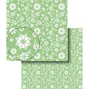 Papel-Scrapbook-Dupla-Face-Flores-Verde-e-Branca-LSCDS-008---Litocart