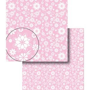 Papel-Scrapbook-Dupla-Face-Flores-Rosa-e-Branca-LSCDS-009---Litocart
