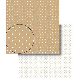 Papel-Scrapbook-Dupla-Face-Poa-Bolinhas-Marrom-e-Branca-LSCDS-005---Litocart