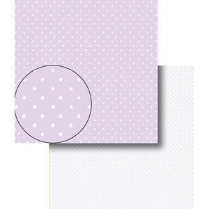 Papel-Scrapbook-Dupla-Face-Poa-Bolinhas-Roxa-e-Brancas-LSCDS-002---Litocart