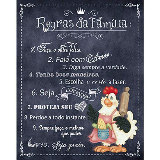 Placa-em-MDF-e-Papel-Decor-Home-Galinha-Regras-da-Familia-DHPM-080---Litoarte