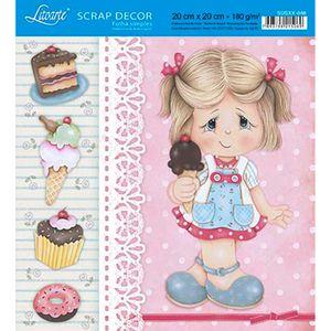 Papel-Scrap-Decor-Folha-Simples-20x20-Menina-Sorvete-SDSXX-048---Litoarte