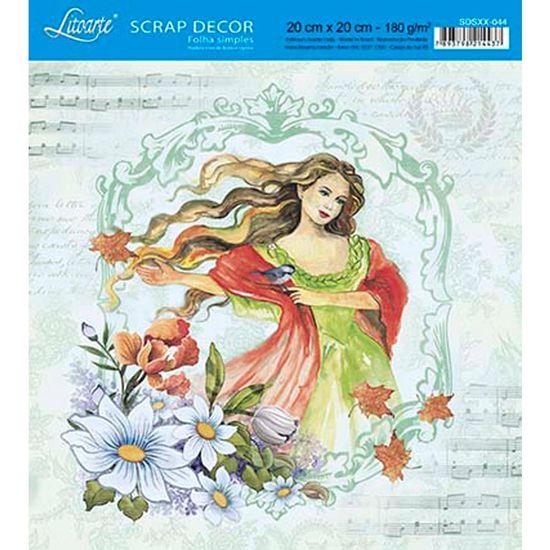 Papel-Scrap-Decor-Folha-Simples-20x20-Mulher-e-Flores-SDSXX-044---Litoarte