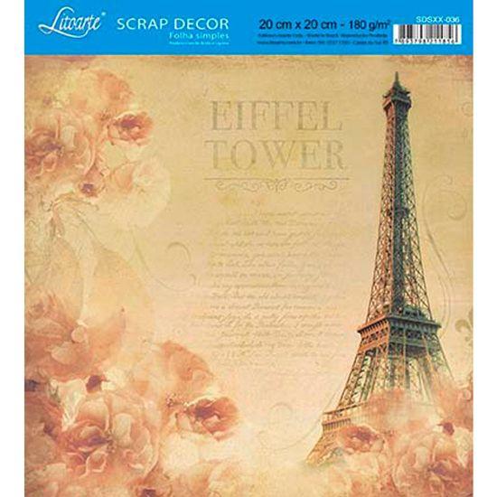 Papel-Scrap-Decor-Folha-Simples-20x20-Torre-Eiffel-SDSXX-036---Litoarte