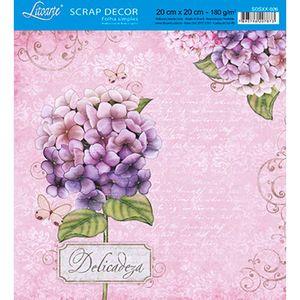 Papel-Scrap-Decor-Folha-Simples-20x20-Hortensia-Delicadeza-SDSXX-026---Litoarte