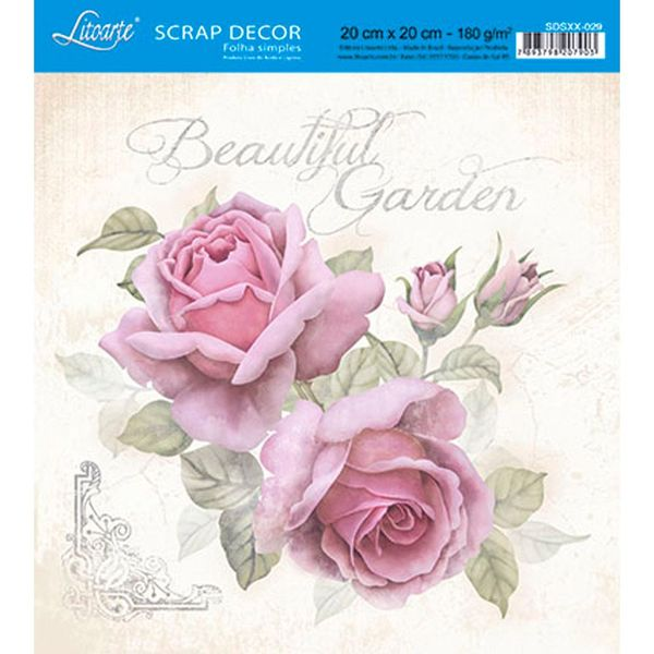 Papel-Scrap-Decor-Folha-Simples-20x20-Beautiful-Garden-SDSXX-029---Litoarte