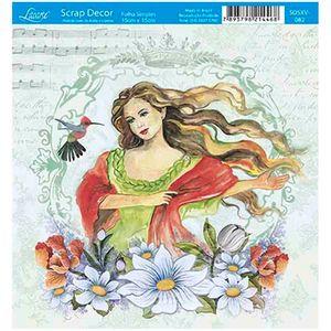 Papel-Scrap-Decor-Folha-Simples-15x15-Mulher-com-Beija-Flor-SDSXV-082---Litoarte