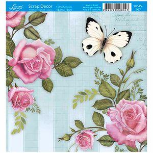 Papel-Scrap-Decor-Folha-Simples-15x15-Rosas-e-Borboleta-SDSXV-067---Litoarte