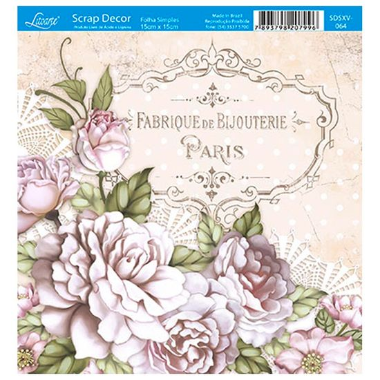 Papel-Scrap-Decor-Folha-Simples-15x15-Rosas-Paris-SDSXV-064---Litoarte