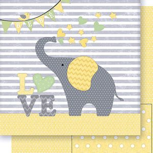 Papel-Scrapbook-Dupla-Face-Elefante-Neutro-SD-409---Litoarte