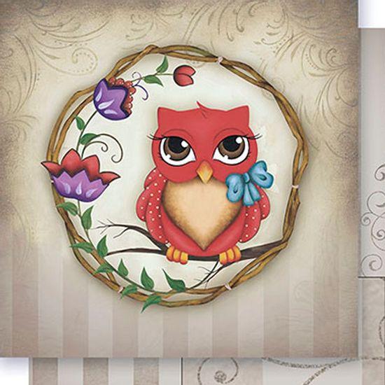 Papel-Scrapbook-Dupla-Face-Coruja-Vermelha-SD-392---Litoarte