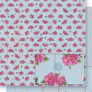 Papel-Scrapbook-Dupla-Face-Flores-fundo-Madeira-SD-400---Litoarte